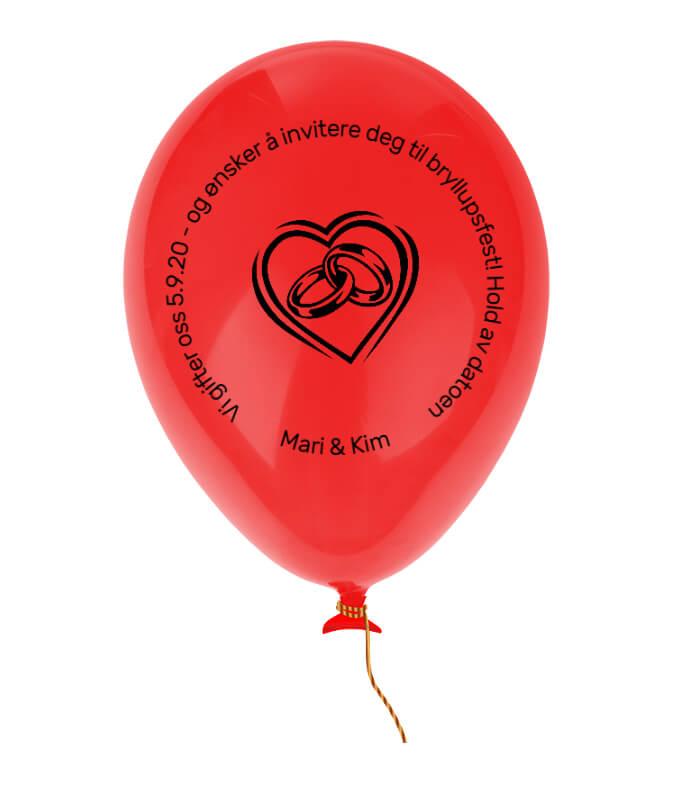 Den ultimate kreative bryllupsinvitasjon - en ballong med tekst. Denne må blåses opp for å se teksten.