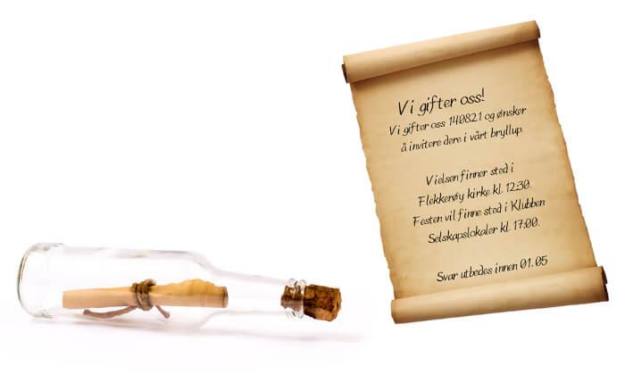 En kreativ bryllupsinvitasjon - en flaskepost med innbydelse.