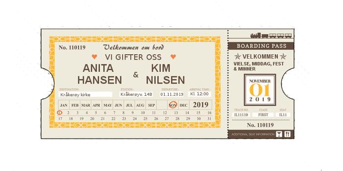 Togbillett invitasjon
