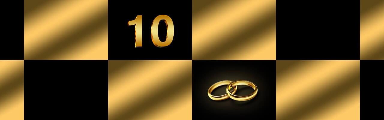 Bilde som illustrerer 10 års bryllupsdag.