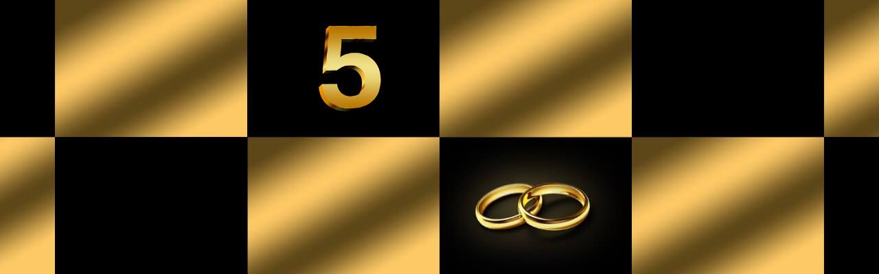 Bilde som illustrerer 5 års bryllupsdag.