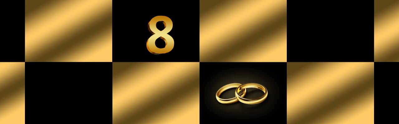 Bilde som illustrerer den åttende bryllupsdagen med tallet 8 og to gifteringer.